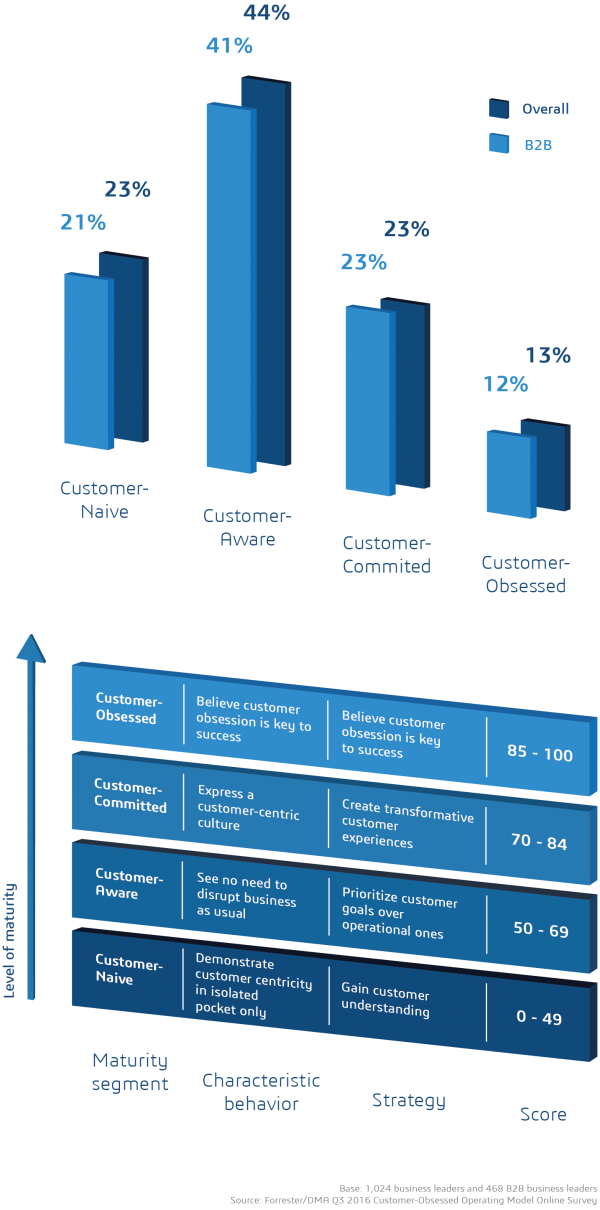 The customer obsession maturity matrix shows that most firms score low